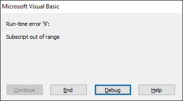 Run-time error '9': Subscript out of range - arrays