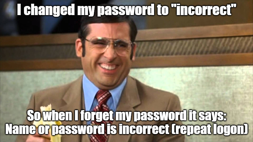 How to detect wrong username or password in SAP Steve Carell password incorrect